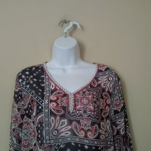 Merchant red, white and blue Bell sleeve tunic